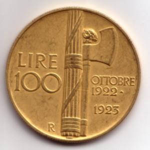 100-Lire-Vittorio-Emanuele-III 1923 Fascio