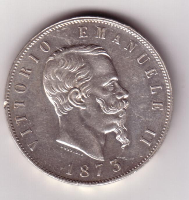 5 Lire Vittorio Emanuele II 1873